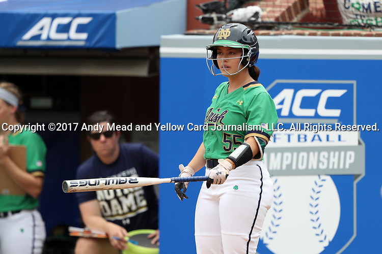 CHAPEL HILL, NC - MAY 11: Notre Dame's Melissa Rochford. The #4 Boston College Eagles played the #5 University of Notre Dame Fighting Irish on May 11, 2017, at Anderson Softball Stadium in Chapel Hill, NC in a 2017 Atlantic Coast Conference Tournament Quarterfinal Softball game. Notre Dame won the game 9-5 in eight innings.