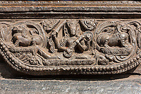 Nepal, Patan, Durbar Square.  Stone Carving, Vishwanath Mandir, Playing Musical Instrument.