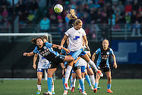 Allston, MA - Saturday, May 07, 2016: Chicago Red Stars midfielder Danielle Colaprico (24), Boston Breakers midfielder Kristie Mewis (19) during a regular season National Women's Soccer League (NWSL) match at Jordan Field.