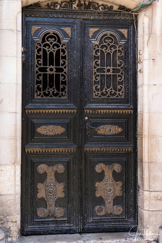 Old doors in the Muslim Quarter of the Old City of Jerusalem.  The Old City of Jerusalem and its Walls is a UNESCO World Heritage Site.
