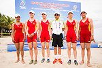 Rowers of China Team pose for photos after the Rowing Women's competition on Day Eight of the 5th Asian Beach Games 2016 at Bien Dong Park on 01 October 2016, in Danang, Vietnam. Photo by Marcio Machado / Power Sport Images