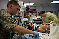 A 10 year old boy wounded in an IED (improvised explosive device) blast is treated at the US Army's SSG Heath N. Craig Joint Theatre Hospital. He received brain surgery.