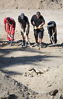 Pictured: Forensic archaeologists and Hellenic Red Cross volunteers go through soil at the site where Ben Needham disappeared from in Kos, Greece. Friday 14 October 2016<br />