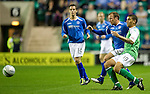 Hibs v St Johnstone...28.09.11   SPL Week.Jody Morris tackles Victor Palsson.Picture by Graeme Hart..Copyright Perthshire Picture Agency.Tel: 01738 623350  Mobile: 07990 594431