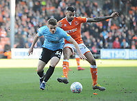 Blackpool's Curtis Tilt vies for possession with Southend United's Charlie Kelman<br /> <br /> Photographer Kevin Barnes/CameraSport<br /> <br /> The EFL Sky Bet League One - Blackpool v Southend United - Saturday 9th March 2019 - Bloomfield Road - Blackpool<br /> <br /> World Copyright © 2019 CameraSport. All rights reserved. 43 Linden Ave. Countesthorpe. Leicester. England. LE8 5PG - Tel: +44 (0) 116 277 4147 - admin@camerasport.com - www.camerasport.com