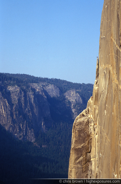 A climber on the Texas Flake of The Nose on El Capitan in Yosemite.