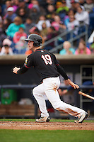 Quad Cities River Bandits center fielder Kyle Tucker (19) at bat during a game against the Burlington Bees on May 9, 2016 at Modern Woodmen Park in Davenport, Iowa.  Quad Cities defeated Burlington 12-4.  (Mike Janes/Four Seam Images)