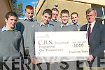 IMMERSION: CBS Tralee students who have raised money for the Christian Brothers Immersion Programme in Africa presenting a cheque for EUR1,000 to school principal, Tony O'Keefe, l-r: Stephen Knightly, Shane O'Callaghan, Graham O'Donnell, Patrick Ryan, Scott Monaghan, Colin McGinley.   Copyright Kerry's Eye 2008