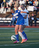 In a National Women's Soccer League Elite (NWSL) match, the Boston Breakers and  Washington Spirit drew 1-1, at the Dilboy Stadium on April 14, 2012.  Boston Breakers forward Lianne Sanderson (10) intercepts a ball in front of Washington Spirit forward Stephanie Ochs (22)