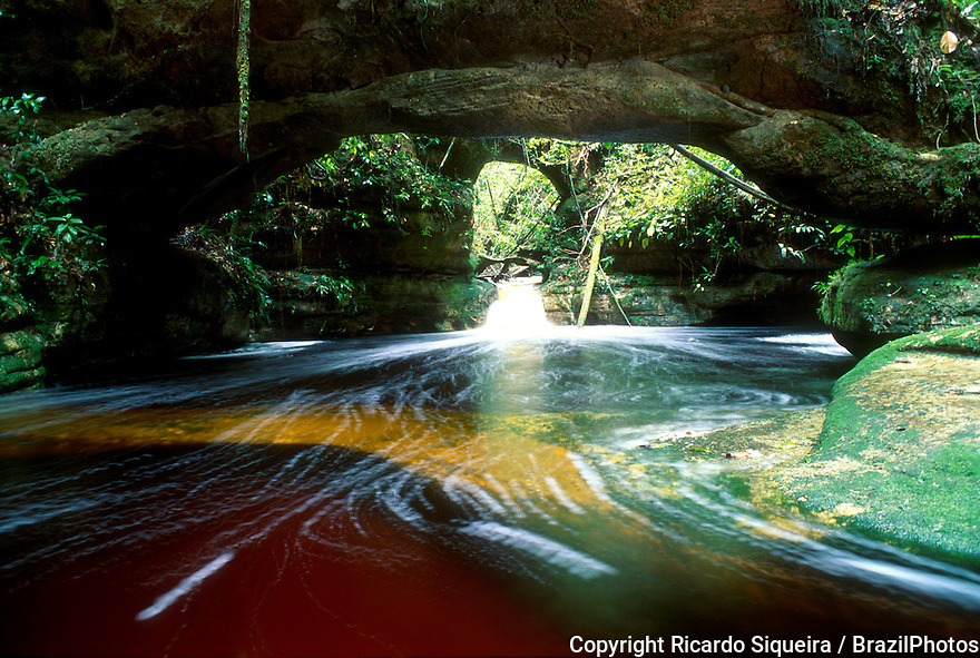 Cachoeira das Arcos ( Arcos Falls ) at Presidente Figueiredo, Amazonas State, Brazil - ecotourism at Amazon rainforest.