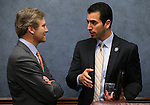 Nevada Sens. Greg Brower, R-Reno, left, and Ruben Kihuen, D-Las Vegas, talk in committee at the Legislative Building in Carson City, Nev., on Thursday, March 7, 2013..Photo by Cathleen Allison