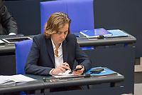 """30. Sitzung des Deutschen Bundestag am Freitag den 27. April 2018.<br /> Im Bild: Beatrix Amelie Ehrengard Eilika von Storch, stellvertretende Fraktionsvorsitzende der rechten """"Alternative fuer Deutschland"""", AfD, tippt auf ihrem Smartphone waehrend der Debatte zum Thema """"Lage der Religions- und Weltanschauungsfreiheit"""".<br /> 27.4.2018, Berlin<br /> Copyright: Christian-Ditsch.de<br /> [Inhaltsveraendernde Manipulation des Fotos nur nach ausdruecklicher Genehmigung des Fotografen. Vereinbarungen ueber Abtretung von Persoenlichkeitsrechten/Model Release der abgebildeten Person/Personen liegen nicht vor. NO MODEL RELEASE! Nur fuer Redaktionelle Zwecke. Don't publish without copyright Christian-Ditsch.de, Veroeffentlichung nur mit Fotografennennung, sowie gegen Honorar, MwSt. und Beleg. Konto: I N G - D i B a, IBAN DE58500105175400192269, BIC INGDDEFFXXX, Kontakt: post@christian-ditsch.de<br /> Bei der Bearbeitung der Dateiinformationen darf die Urheberkennzeichnung in den EXIF- und  IPTC-Daten nicht entfernt werden, diese sind in digitalen Medien nach §95c UrhG rechtlich geschuetzt. Der Urhebervermerk wird gemaess §13 UrhG verlangt.]"""