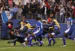 20 March 2008: Goalkeeper Kevin Hernandez (HON) (in black) is tackled by his Honduras teammates after the game. The Honduras U-23 Men's National Team defeated the Guatemala U-23 Men's National Team 6-5 on penalty kicks after a 0-0 overtime tie at LP Field in Nashville,TN in a semifinal game during the 2008 CONCACAF Men's Olympic Qualifying Tournament. With the penalty kick victory, Honduras qualifies for the 2008 Beijing Olympics.