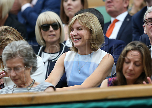 July 11th 2017, All England Lawn Tennis and Croquet Club, London, England; The Wimbledon Tennis Championships, Day 8; BBC journalist, newsreader and television presenter Fiona Bruce watching from the royal box; Konta (GBR) versus Simona Halep (ROU)