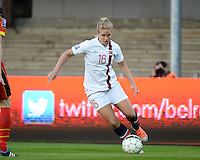 20140410 - LEUVEN , BELGIUM : Norway Elise Thorsnes pictured during the female soccer match between Belgium and Norway, on the seventh matchday in group 5 of the UEFA qualifying round to the FIFA Women World Cup in Canada 2015 at Stadion Den Dreef , Leuven . Thursday 10th April 2014 . PHOTO DAVID CATRY
