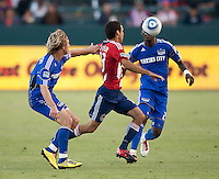 CARSON, CA – SEPTEMBER 19: KC Wizard defender Michael Harrington (2), midfielder Kei Kamara (23) and Chivas USA defender Jonathan Bornstein (13) during a soccer match at Home Depot Center, September 19, 2010 in Carson California. Final score Chivas USA 0, Kansas City Wizards 2.