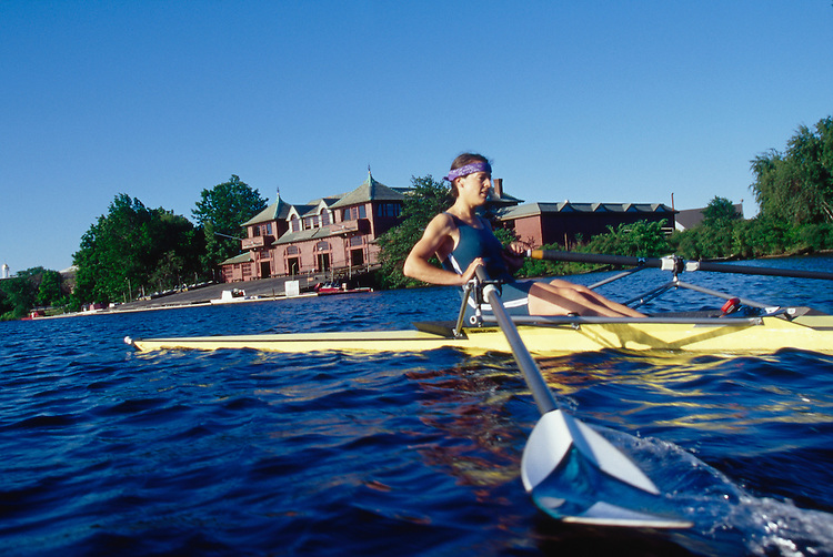 Rowing, Charles River, Cambridge, woman rower, single shell, Ellen Kennelly, Cambridge Boat CLub, Weld Boathouse, Harvard University,