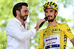 Race leader Julian Alaphilippe (FRA) Deceuninck-Quick Step at sign on before the start of Stage 17 of the 2019 Tour de France running 200km from Pont du Gard to Gap, France. 24th July 2019.<br /> Picture: ASO/Alex Broadway | Cyclefile<br /> All photos usage must carry mandatory copyright credit (© Cyclefile | ASO/Alex Broadway)