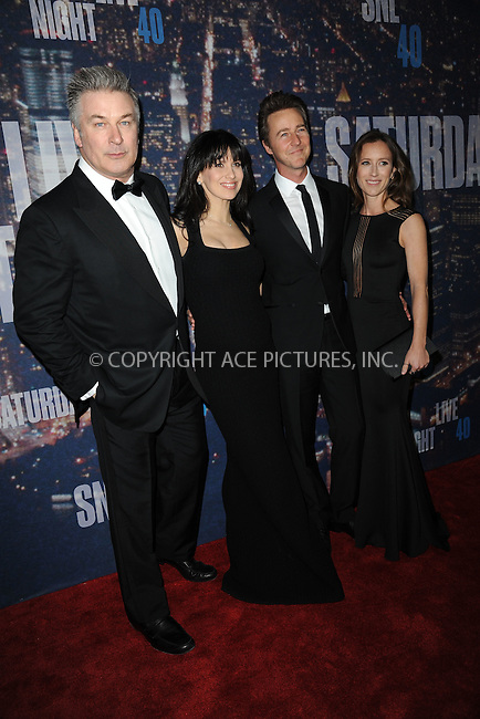 WWW.ACEPIXS.COM<br /> February 15, 2015 New York City<br /> <br /> <br /> Alec Baldwin, Hilaria Thomas, Edward Norton and  Shauna Robertson walking the red carpet at the SNL 40th Anniversary Special at 30 Rockefeller Plaza on February 15, 2015 in New York City.<br /> <br /> Please byline: Kristin Callahan/AcePictures<br /> <br /> ACEPIXS.COM<br /> <br /> Tel: (646) 769 0430<br /> e-mail: info@acepixs.com<br /> web: http://www.acepixs.com