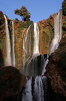 Flowing cascades of the Ouzoud Waterfalls, Morocco.