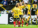 Solna 2015-07-26 Fotboll Allsvenskan AIK - IF Elfsborg :  <br /> Elfsborgs Viktor Prodell och Simon Lundevall jublar med Henning Hauger efter reducering till 2-4 under matchen mellan AIK och IF Elfsborg <br /> (Foto: Kenta J&ouml;nsson) Nyckelord:  AIK Gnaget Friends Arena Allsvenskan Elfsborg IFE jubel gl&auml;dje lycka glad happy