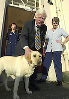 'Halley' the Dingle Hospital mutt pictured with the late Dr. Jim Brosnan, who passed away last week, Matron Annette Cremin and Mary Fitzgerald.<br /> Picture by Don MacMonagle