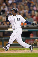 Detroit Tigers' Edgar Renteria (8) follows through on his swing versus the Los Angeles Angels at Comerica Park in Detroit, MI, Sunday, April 27, 2008.