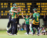 Stags players celebrate victory: (from left) Ross Taylor, Jamie How, Jacob Oram and Bevan Griggs. 2010 HRV Cup Twenty20 cricket final - Central Stags v Auckland Aces at Pukekura Park, New Plymouth. Sunday, 31 January 2010. Photo: Dave Lintott / lintottphoto.co.nz