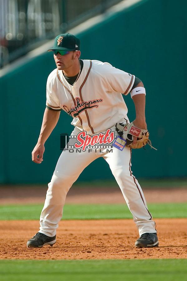 Greensboro third baseman Jake Blackwood (10) on defense versus Kannapolis at First Horizon Park in Greensboro, NC, Sunday, May 27, 2007.  The Intimidators defeated the Grasshoppers 6-5.