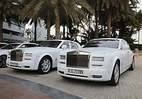 General view of 2 Rolls Royce cars parked outside the Burj al Arab, Jumeirah, Dubai, United Arab Emirates on 1.4.19.