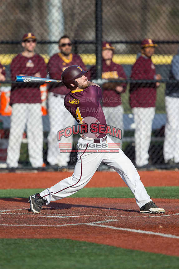 Fran Kinsey (4) of the Iona Gaels follows through on his swing against the Rutgers Scarlet Knights at City Park on March 8, 2017 in New Rochelle, New York.  The Scarlet Knights defeated the Gaels 12-3.  (Brian Westerholt/Four Seam Images)