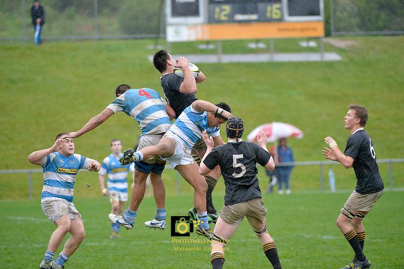 Action from Wellington College Rugby Final between St Pat's Silverstream and Wellington College at Porirua Park, Porirua, Wellington, New Zealand on Sunday 11 August 2013.<br /> Photo by Masanori Udagawa.<br /> www.photowellington.photoshelter.com