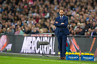 England&rsquo;s manager Gareth Southgate looks on <br /> <br /> Photographer Craig Mercer/CameraSport<br /> <br /> FIFA World Cup Qualifying - European Region - Group F - England v Solvenia - Thursday 5th October 2017 - Wembley Stadium - London<br /> <br /> World Copyright &copy; 2017 CameraSport. All rights reserved. 43 Linden Ave. Countesthorpe. Leicester. England. LE8 5PG - Tel: +44 (0) 116 277 4147 - admin@camerasport.com - www.camerasport.com