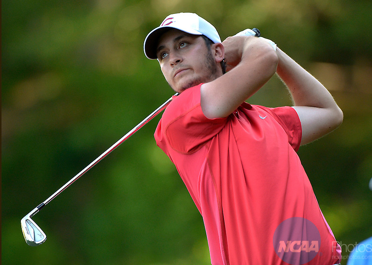 20 MAY 2015:  Sam Migdal of Central Missouri  hits a shot during the Division II Men's Individual Golf Championship held at the Rock Barn Golf & Spa in Conover, NC. Migdal shot a -8 to win the individual national title. Grant Halverson/NCAA Photos