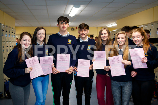 Molly O'Brien, Keely Randles, Eoin Murphy, Gordan Smith, Karen O'Sullivan, Ciara Cronin, Caoimhe Quinlan, Kenmare students on the first day of the Leaving Certificate.