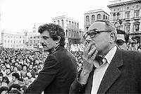 Vittorio Foa ed Emilio Molinari, leader di Democrazia Proletaria, durante una manifestazione  (Milano, 1977)