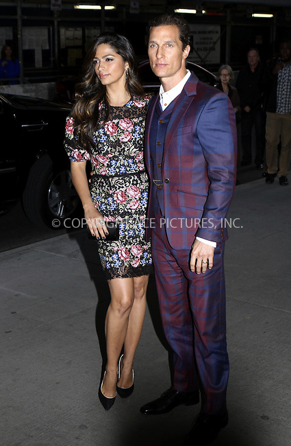 WWW.ACEPIXS.COM......April 21, 2013, New York City, NY.......Camila Alves and Matthew McConaughey arriving at The Cinema Society screening of 'Mud' at The Museum of Modern Art on April 21, 2013 in New York City...........By Line: Nancy Rivera/ACE Pictures....ACE Pictures, Inc..Tel: 646 769 0430..Email: info@acepixs.com