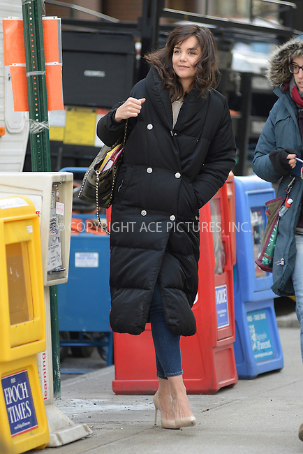 WWW.ACEPIXS.COM<br /> March 27, 2014 New York City<br /> <br /> Katie Holmes on the set of 'Dangerous Liaisons' televison show pilot on March 27, 2014 in New York City.<br /> <br /> Please byline: Kristin Callahan<br /> <br /> ACEPIXS.COM<br /> <br /> Tel: (212) 243 8787 or (646) 769 0430<br /> e-mail: info@acepixs.com<br /> web: http://www.acepixs.com