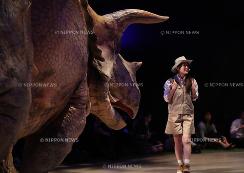 "April 25, 2017, Tokyo, Japan - An actor wearing dinosaur-shaped mechanical suit ""dino-tronics"" performs a dinosaur show ""Dino Safari"" at a press preview in Tokyo on Tuesday, April 25, 2017. A live show with six dinosaurs will be carried at Hikarie hall from April 26 through May 6.   (Photo by Yoshio Tsunoda/AFLO) LwX -ytd-"