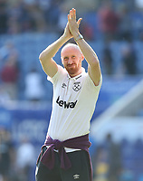 West Ham United's James Collins applauds the fans at the end of the game<br /> <br /> Photographer Rob Newell/CameraSport<br /> <br /> The Premier League - Leicester City v West Ham United - Saturday 5th May 2018 - King Power Stadium - Leicester<br /> <br /> World Copyright &copy; 2018 CameraSport. All rights reserved. 43 Linden Ave. Countesthorpe. Leicester. England. LE8 5PG - Tel: +44 (0) 116 277 4147 - admin@camerasport.com - www.camerasport.com