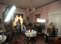 NWA Democrat-Gazette/BEN GOFF @NWABENGOFF<br /> Lynne Walton (right), president of The Peel Compton Foundation board of directors, prepares to film an interview Friday, March 2, 2018, as students from Arkansas Arts Academy film for a project at the Peel Mansion Museum and Heritage Gardens in Bentonville. High school students from the school's audio visual class and theater program are collaborating to produce a 15 minute short film about the Peel Mansion as an entry for the Arkansas Educational Television Network's Student Selects competition for young filmmakers. The film includes interviews with people involved in the museum as well as vignettes of moments in the 1875 home's history with theater students portraying historical figures.