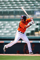 GCL Orioles designated hitter Jaime Estrada (16) at bat during a game against the GCL Twins on August 11, 2016 at the Ed Smith Stadium in Sarasota, Florida.  GCL Twins defeated GCL Orioles 4-3.  (Mike Janes/Four Seam Images)