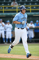 Riley Adams (21) of the University of San Diego Toreros runs to first base during a game against the UCLA Bruins at Jackie Robinson Stadium on March 4, 2017 in Los Angeles, California.  USD defeated UCLA, 3-1. (Larry Goren/Four Seam Images)