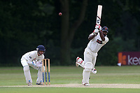A Zaidi hits four runs for Ilford during Wanstead and Snaresbrook CC vs Ilford CC, Shepherd Neame Essex League Cricket at Overton Drive on 17th June 2017