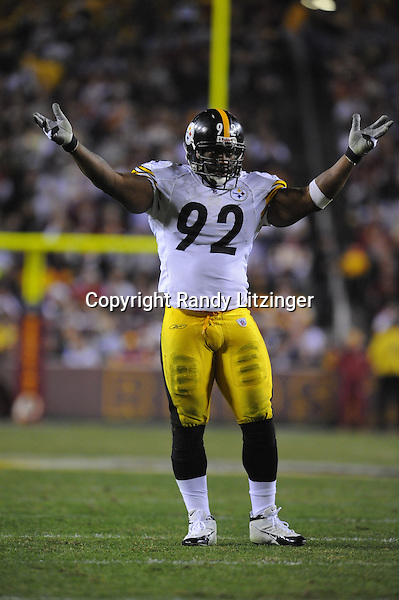 03 November 2008:  Steelers OLB James Harrison (92)..The Pittsburgh Steelers defeated the Washington Redskins 23-6 on Monday Night Football at FedEx Field in Landover, MD.