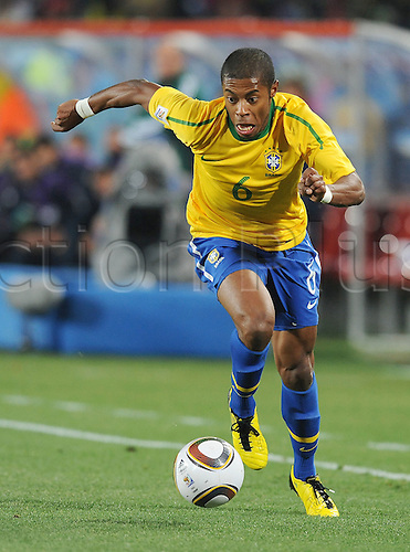Michel Bastos of Brazil in action during the 2010 FIFA World Cup soccer match between Brazil and Chile at Ellis Park Stadium on June 28, 2010 in Johannesburg, South Africa.