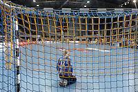 HC Leipzig : DVSC Korvex - Handball Damen Women Champions League - .Nach einem souveränen 31:25 Erfolg gegen den ungarischen Vize-Meister DVSC Korvex vor 2.747 Zuschauern in der Leipziger ARENA - im Bild: HCL Torfrau Katja Schülke kniet in ihrem Kasten.   Foto: Norman Rembarz