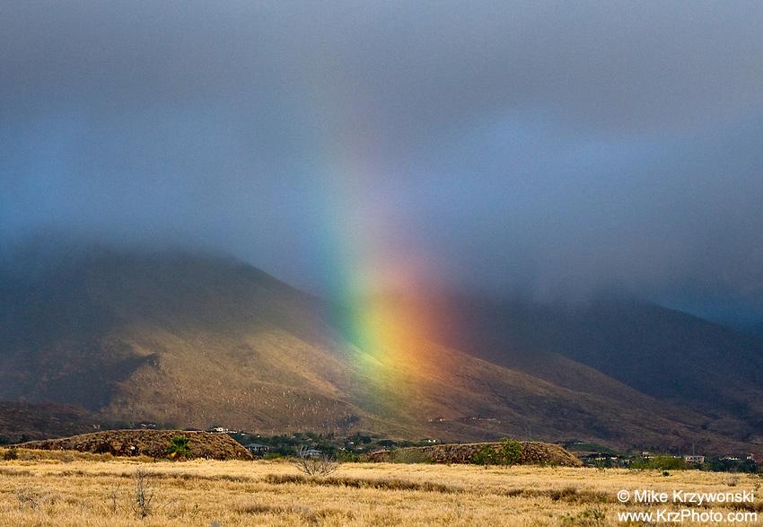 Rainbow over mountains on Maui