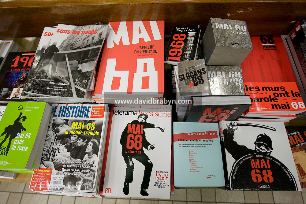 Books on the May 1968 events stand on display in a book store in Paris, France, 2 May 2008. 85 books have come out for the 40th anniversary of the student riots.
