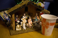 A nativity scene stands on a table at the Rick Santorum New Hampshire campaign headquarters in Bedford, New Hampshire, on Jan. 7, 2012.  Santorum is seeking the 2012 Republican presidential nomination.